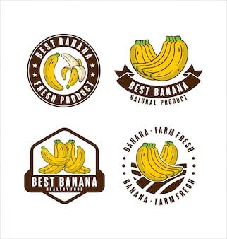 Collection d'étiquettes de produits naturels frais de la ferme de banane
