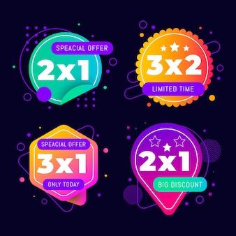 Collection d'étiquettes de promotion 2x1