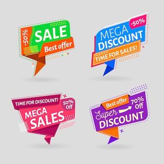 Collection d'étiquettes de promotion des ventes minimaliste