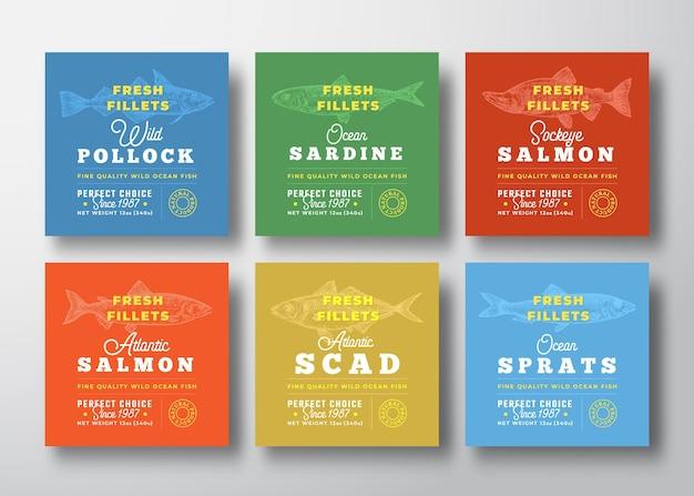 Collection d'étiquettes de qualité supérieure de filets frais, vecteur abstrait, mise en page de conception d'emballage de fruits de mer...