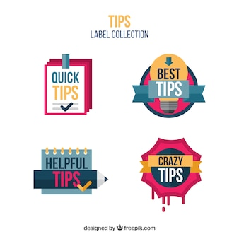 Collection d'étiquettes quick tips dans un style plat