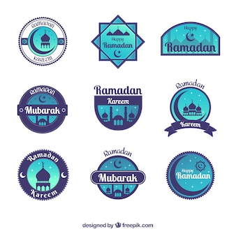 Collection d'étiquettes de ramadan bleu