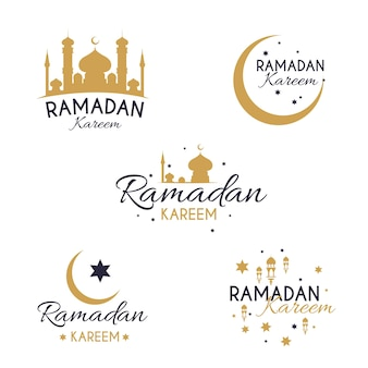 Collection d'étiquettes de ramadan design plat