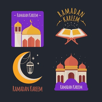 Collection d'étiquettes de ramadan dessinées à la main