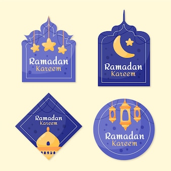Collection d'étiquettes ramadan dessinées à la main