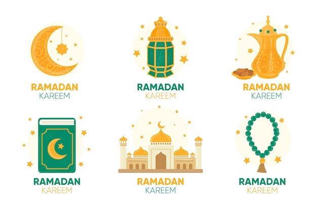 Collection d'étiquettes ramadan dessinées à la main
