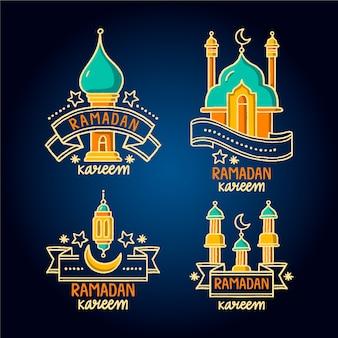 Collection d'étiquettes de ramadan dessinés à la main avec des rubans