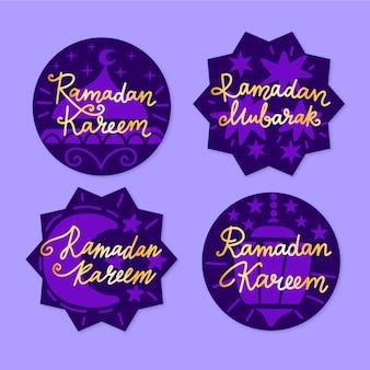 Collection d'étiquettes de ramadan dessinés à la main