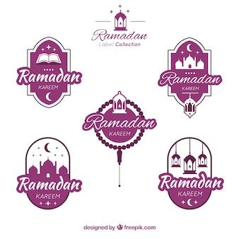 Collection d'étiquettes ramadan moderne