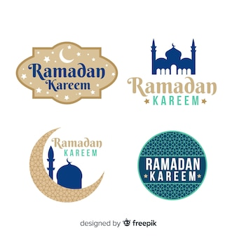Collection d'étiquettes de ramadan plat