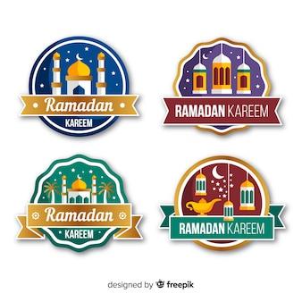 Collection d'étiquettes de ramadan plat