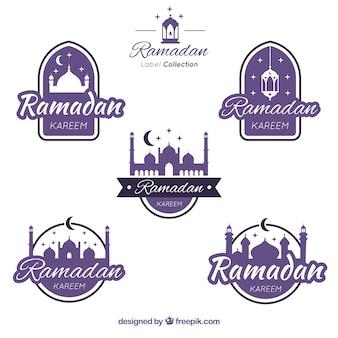 Collection d'étiquettes de ramadan pourpre