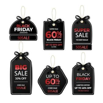Collection d'étiquettes réalistes du vendredi noir