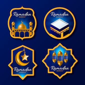 Collection d'étiquettes réalistes de ramadan