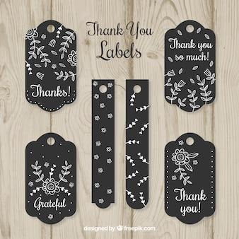 Collection d'étiquettes de remerciements noirs