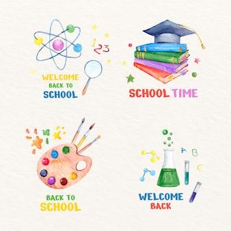 Collection d'étiquettes de retour à l'aquarelle à l'école