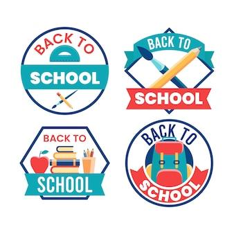 Collection d'étiquettes de retour à l'école