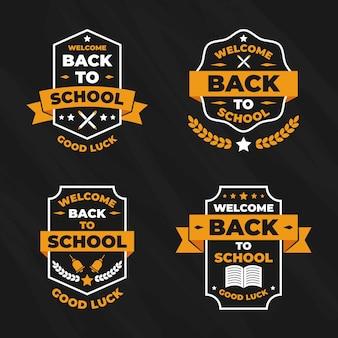Collection d'étiquettes avec retour à l'école