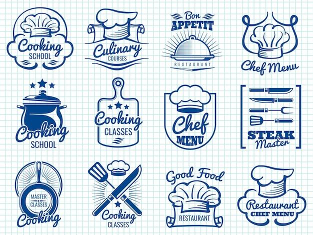 Collection d'étiquettes rétro chef
