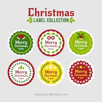 Collection d'étiquettes rondes de noël