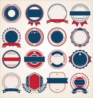 Collection d'étiquettes et rubans de badges vintage rétro