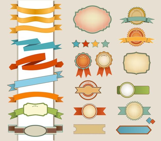 Collection d'étiquettes et de rubans rétro multicolores