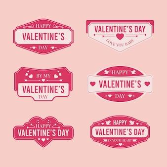 Collection d'étiquettes de la saint-valentin au design plat