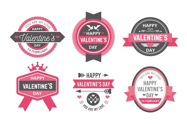 Collection d'étiquettes de la saint-valentin au design plat