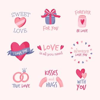 Collection d'étiquettes de saint valentin dessinées à la main