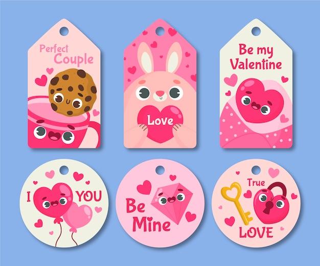 Collection d'étiquettes de saint valentin dessinés à la main