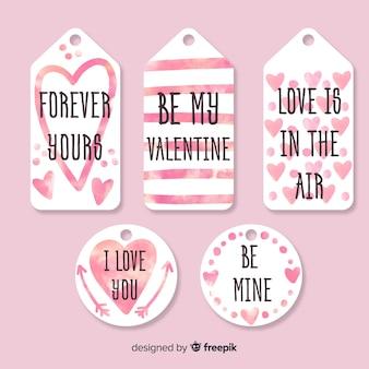 Collection d'étiquettes de saint valentin avec détails d'aquarelle