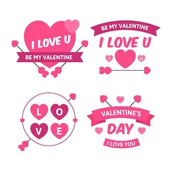 Collection d'étiquettes de la saint-valentin plate