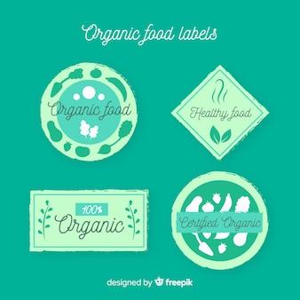 Collection d'étiquettes de silhouettes d'aliments biologiques