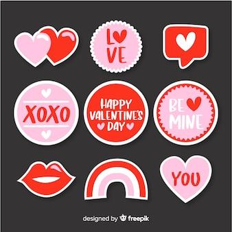 Collection d'étiquettes simples pour la saint-valentin