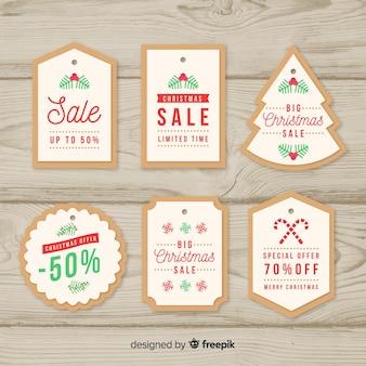 Collection d'étiquettes simples de vente de noël