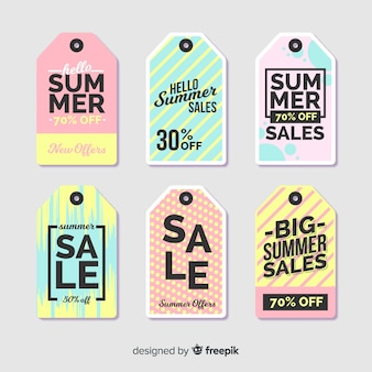 Collection d'étiquettes de soldes d'été