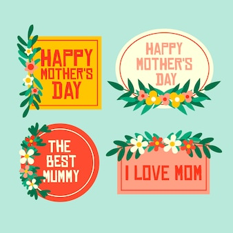 Collection d'étiquettes style plat fête des mères