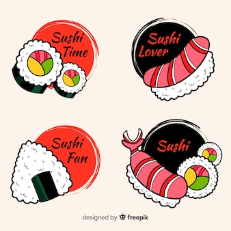 Collection d'étiquettes de sushi