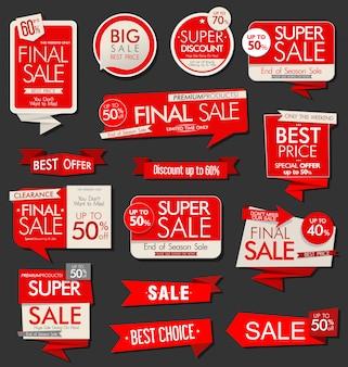 Collection d'étiquettes et de tags de vente moderne