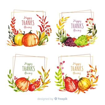 Collection d'étiquettes de thanksgiving à l'aquarelle