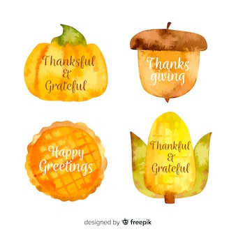 Collection d'étiquettes de thanksgiving aquarelle