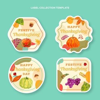 Collection d'étiquettes de thanksgiving aquarelle