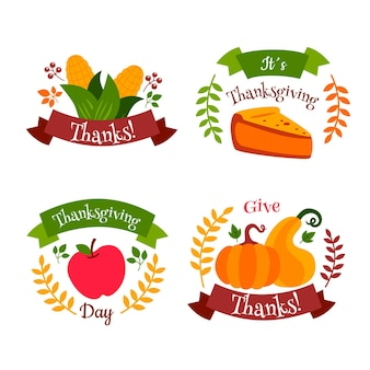 Collection d'étiquettes de thanksgiving au design plat