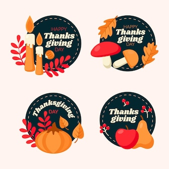 Collection d'étiquettes de thanksgiving au design plat