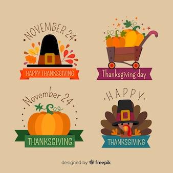 Collection d'étiquettes de thanksgiving de conception plate