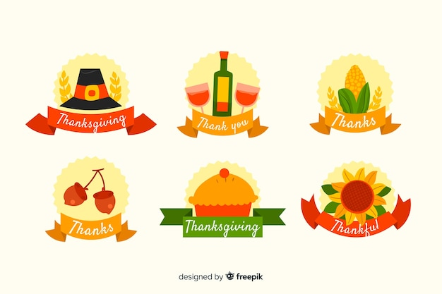 Collection d'étiquettes de thanksgiving de conception plate
