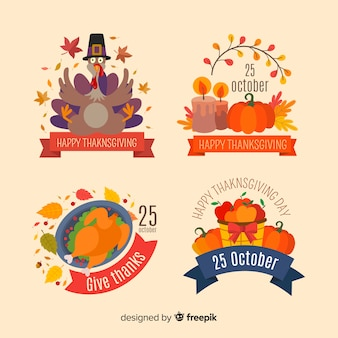 Collection d'étiquettes de thanksgiving en design plat