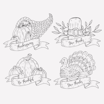 Collection d'étiquettes de thanksgiving dessinées à la main