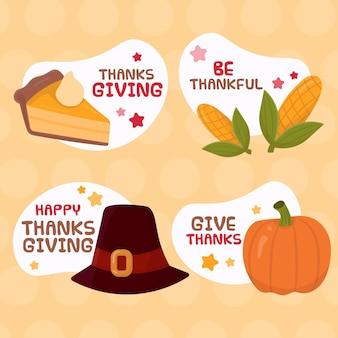 Collection d'étiquettes de thanksgiving dessinées à la main