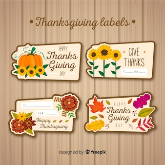 Collection d'étiquettes de thanksgiving en style dessiné à la main